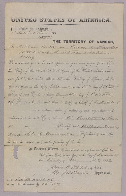 Kansas Territory versus William Murphy, John Musser for murder - Page