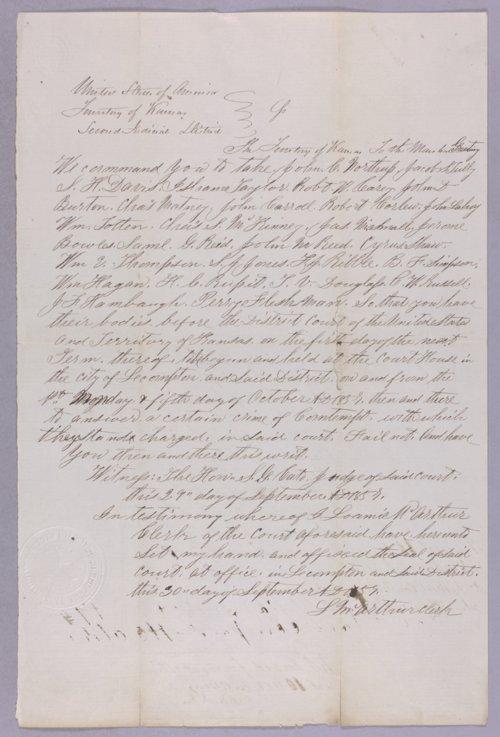 Kansas Territory versus John C. Northrup for contempt - Page