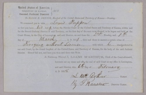 Kansas Territory versus Lewis Pappan for operating a ferry without a license - Page