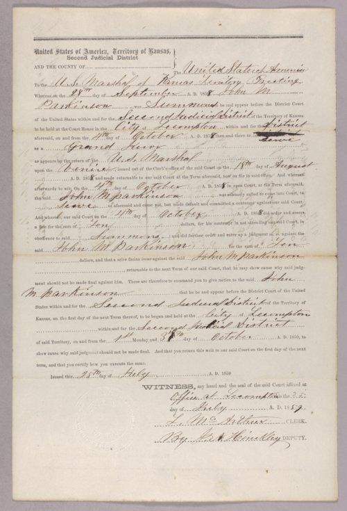 United States versus John M. Parkinson for contempt - Page
