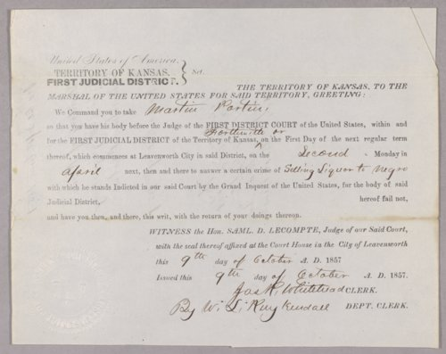 Kansas Territory versus Martin Partin for selling liquor without a license - Page