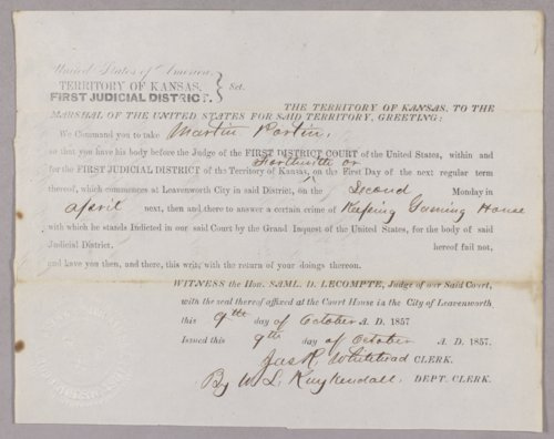 Kansas Territory versus Martin Partin for keeping a gaming house - Page