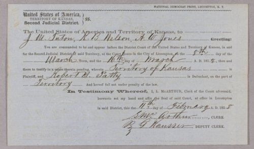 Kansas Territory versus Robert H. Patty for keeping a gambling house - Page