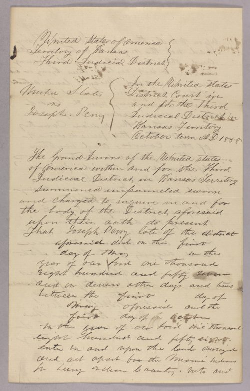 United States versus Joseph Perry for stealing Indian timber - Page