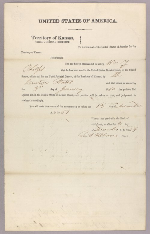 United States versus William Y. Phelps for settling on Indian land - Page