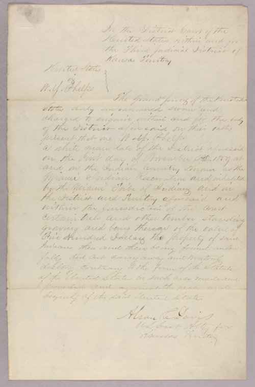 United States versus William Y. Phelps for taking Indian timber - Page