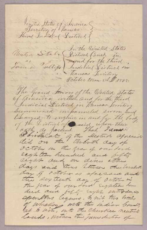 United States versus James Phillips for selling liquor to Indians - Page