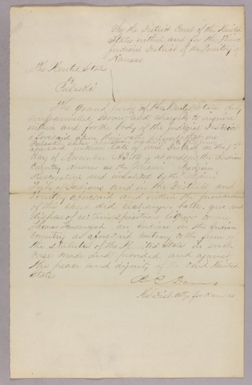 United States versus Pulaski for selling liquor to Indians - Page