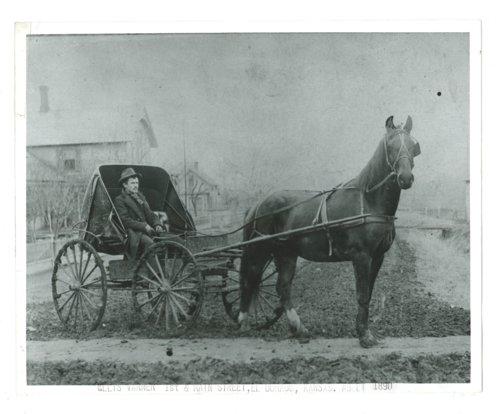 Ellis Varner seated in a horse-drawn buggy, El Dorado, Butler County, Kansas - Page