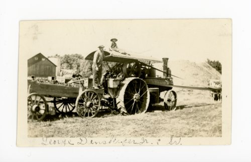 George Densberger and son with steam tractor, Butler County, Kansas - Page