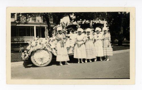 Women with automobile float, Kaffir Corn Carnival, El Dorado, Butler County, Kansas - Page