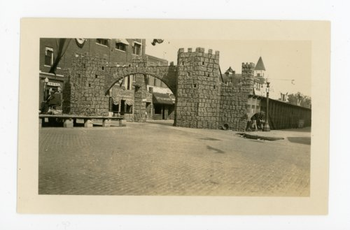 Kafirville entry arch and castle walls, Kaffir Corn Carnival, El Dorado, Butler County, Kansas - Page