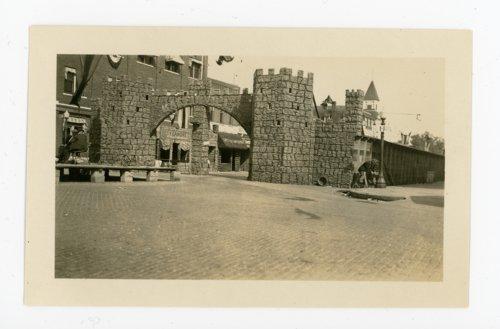 Kafirville entry arch and castle walls, Kaffir Corn Carnival, El Dorado, Butler County, Kansas - Page