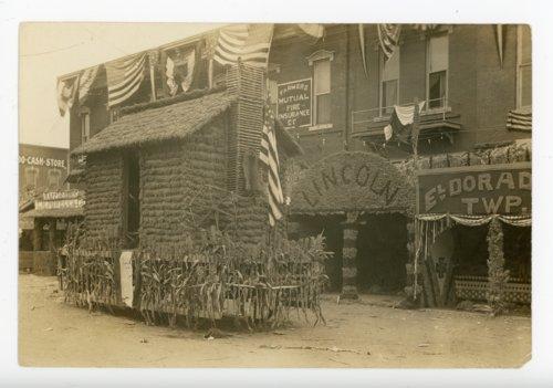 Lincoln Township cabin float, Kaffir Corn Carnival, El Dorado, Butler County, Kansas - Page