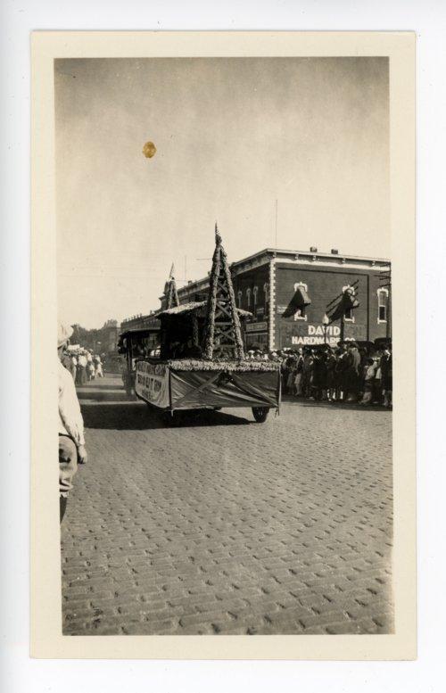 Oil derrick float, Kaffir Corn Carnival Parade, El Dorado, Butler County, Kansas - Page