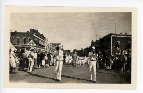 Midian horn players, Kaffir Corn Carnival Parade, El Dorado, Butler County, Kansas - Page