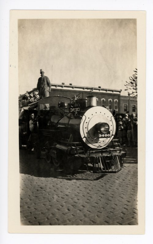 Train engine float, Kaffir Corn Carnival Parade, El Dorado, Butler County, Kansas - Page