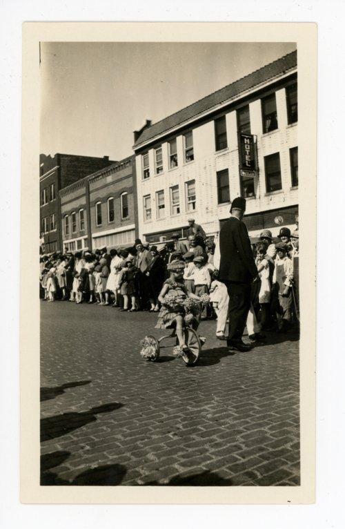 Little girl on tricycle, Kaffir Corn Carnival baby parade, El Dorado, Butler County, Kansas - Page