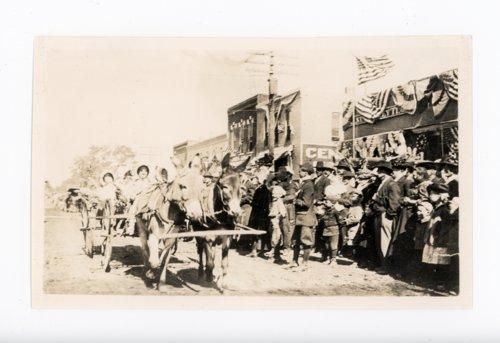Mule-drawn wagon, Kaffir Corn Carnival Parade, El Dorado, Butler County, Kansas - Page
