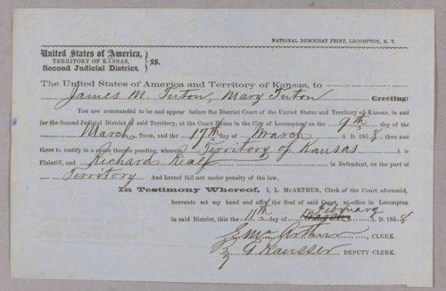 Kansas Territory versus Richard Realf for assault with intent to kill - Page