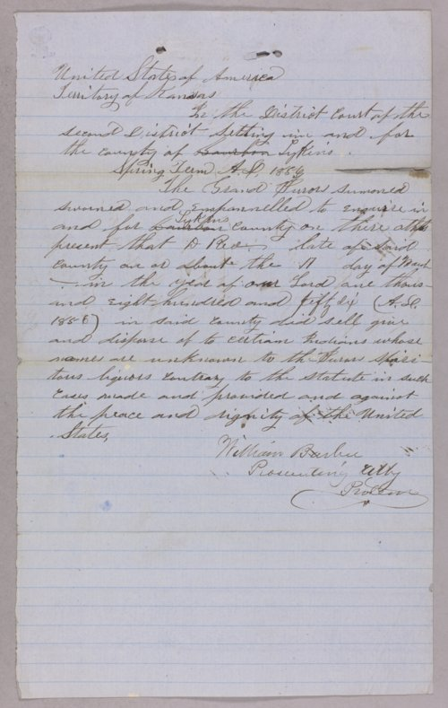 Kansas Territory versus D. Red for selling liquor to Indians - Page