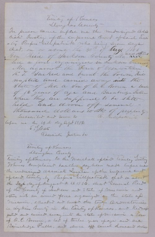 Kansas Territory versus General Reid for sacking of Osawatomie and kidnaping - Page