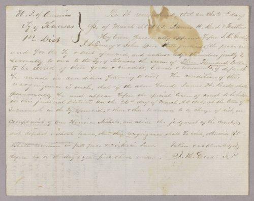 Kansas Territory versus James Reed, General Long, Lucas Corlew, B.P. McDaniel, Alex Sebastian, Samuel Sebastian for riot - Page