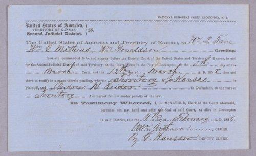 Kansas Territory versus Andrew H. Reeder for resisting U. S. officer - Page