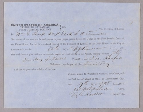 Kansas Territory versus Frederick Rhoefus for selling liquor without a license - Page