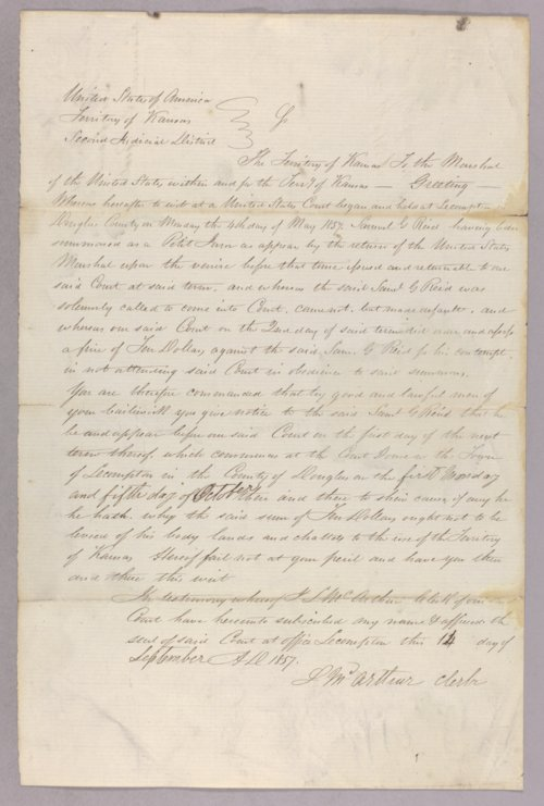 Kansas Territory versus Samuel G. Reid for contempt - Page