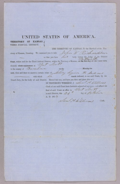 United States versus John W. Richardson for selling liquor to Indians - Page