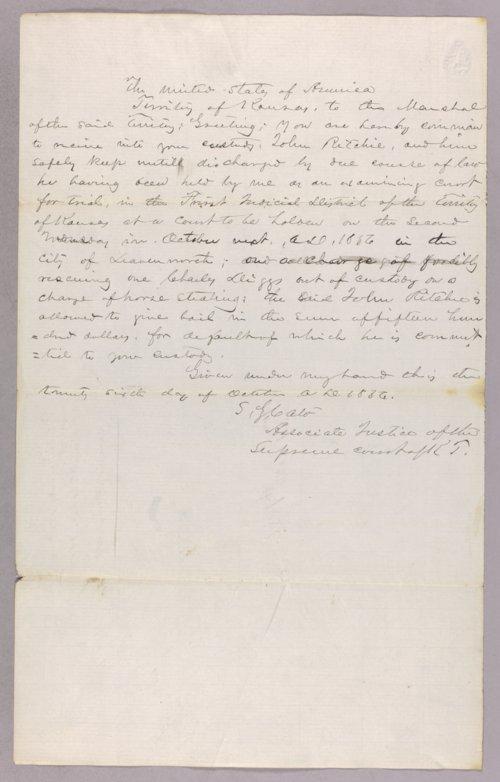 Kansas Territory versus John Richie for rescuing a prisoner - Page