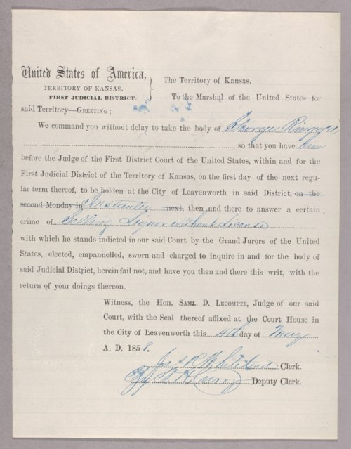 Kansas Territory versus George Ringold for selling liquor without a license - Page