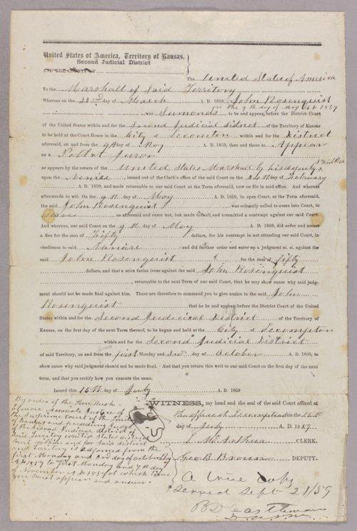 Kansas Territory versus Samuel J. Rose for contempt - Page
