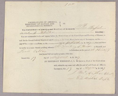 Kansas Territory versus Louis Sablin for gambling - Page