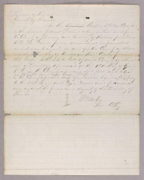 Kansas Territory versus Walter Sotterwhite for selling liquor without a license - Page