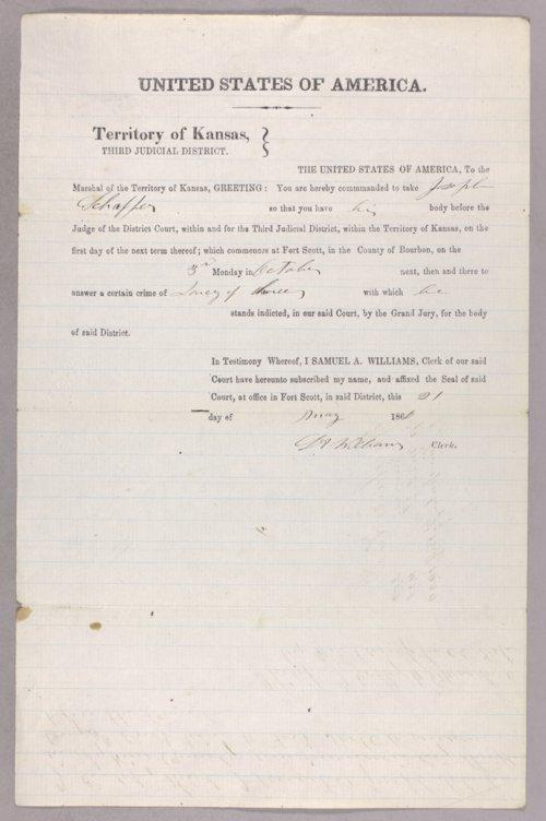 Kansas Territory versus Joseph Schaffer for horse stealing - Page