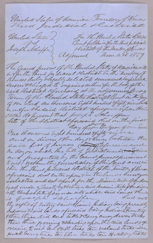 United States versus Joseph Schaffer for taking timber from Indian land - Page