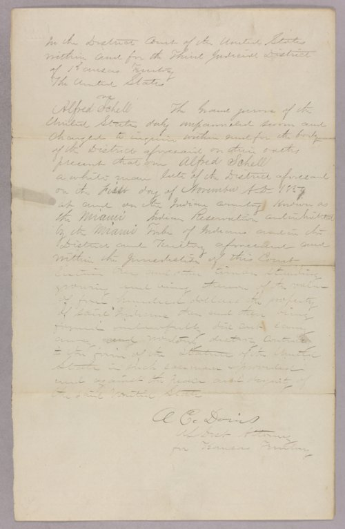 Kansas Territory versus Alfred Schell for tresspasing on Indian lands - Page