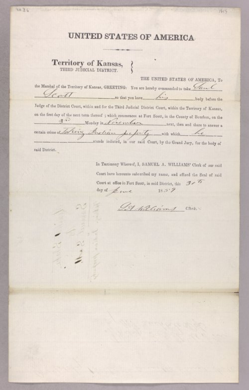 United States versus Samuel Scott for stealing Indian property - Page