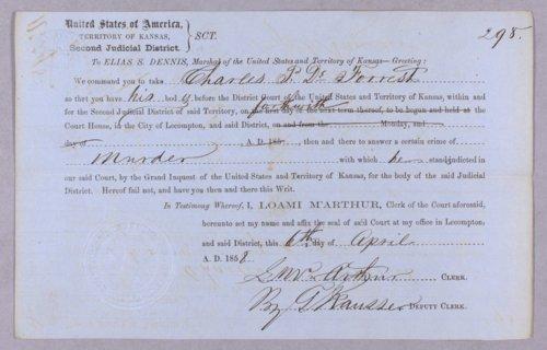 Kansas Territory versus Joseph Shuler, Charles P. Deforest for murder - Page