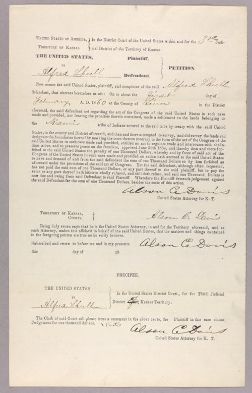 United States versus Alfred Shull for settling on Indian land - Page
