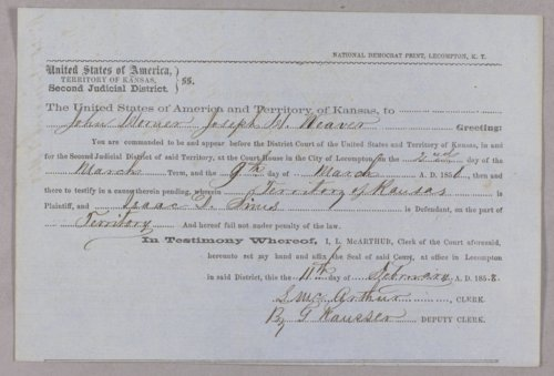 Kansas Territory versus Isaac D. Sims for obtaining property under false pretense - Page