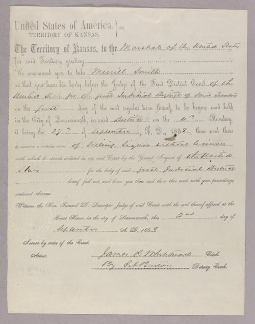 Kansas Territory versus Merrill Smith for selling liquor without a license - Page