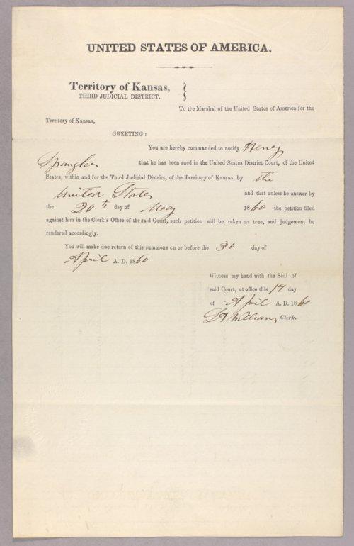 United States versus Henry Spangler for settling on Indian land - Page