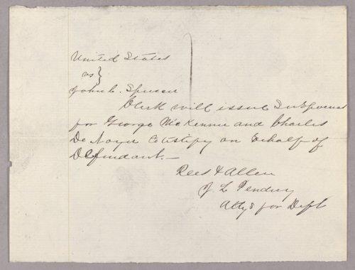 United States versus John C. Spenser for helping a fugitive - Page