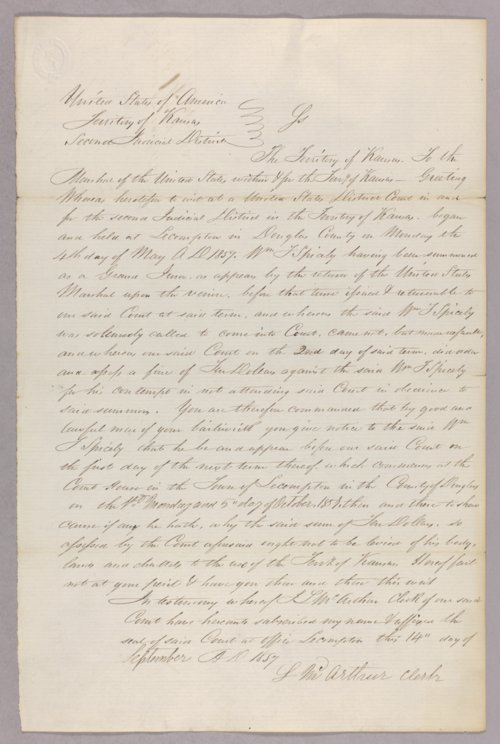 Kansas Territory versus William T. Spicely for contempt - Page