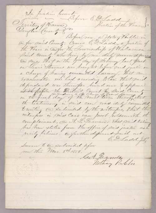 Kansas Territory versus Lewis Stearns for larceny - Page