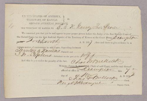 Kansas Territory versus John W. Stephens for larceny - Page