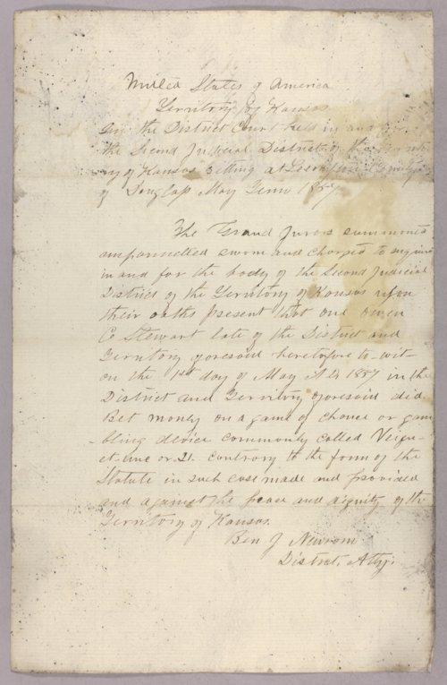 Kansas Territory versus Owen C. Stewart for gambling - Page